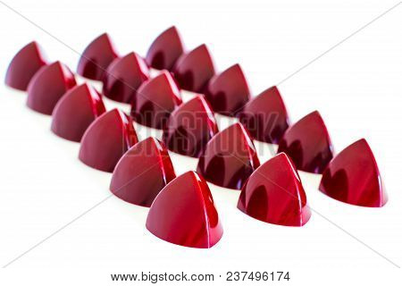 Selection Of The Handmade Red Chocolate Bonbons