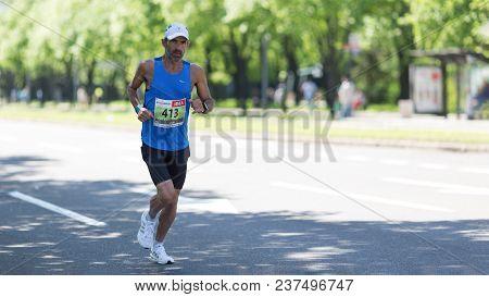 Belgrade, Serbia - April 21, 2018: Contender From Israel Taking Part In 31st Belgrade Marathon, A Co
