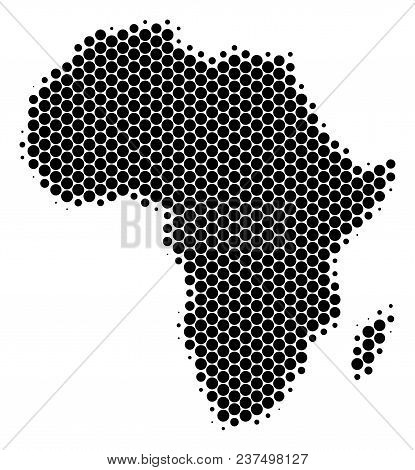 Halftone Circle Africa Map. Vector Geographic Map On A White Background. Vector Composition Of Afric