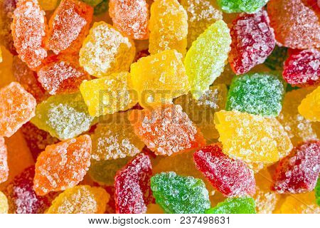 Close Up A Background From Colorful Sweets Of Sugar Candies. Assortment Candies View. Colored Backgr