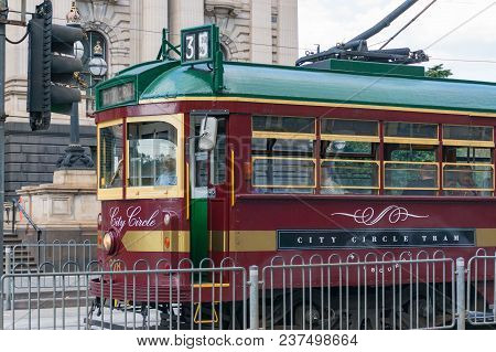 Melbourne, Australia - April 6, 2017: Historic Tramway On City Circlevroute 35 On Streets Of Melbour