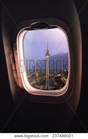 aerial view of Berlin, germany, seen through an airplane window