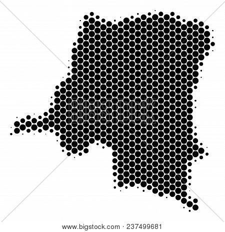 Halftone Dot Democratic Republic Of The Congo Map. Vector Geographical Map On A White Background. Ve