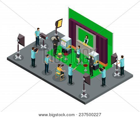 Isometric Filming Process Concept With Director Operators Illuminators And Actors Making Robbery Sce