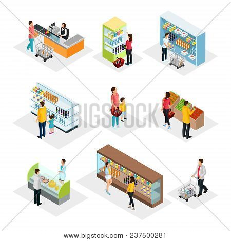 Isometric People In Grocery Shop Set With Customers Choosing And Buying Different Products Isolated