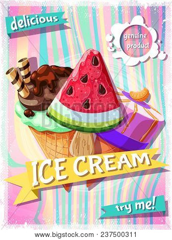 Cartoon Summer Food Promotional Poster Of Fruit Ice Creams With Different Ingredients And Flavors Ve