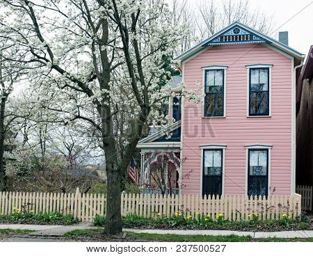 Pink & Blue House with Picket Fence & Flowering Pear Tree