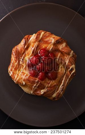 Puff Pastry Tarts With Raspberries On Plate. Top View