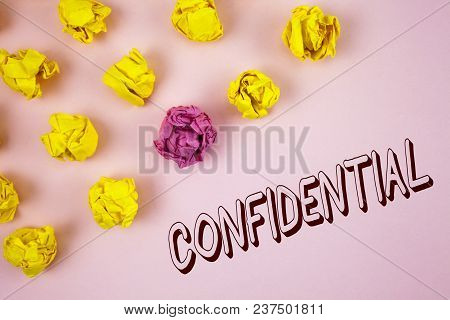 Text Sign Showing Confidential. Conceptual Photo Agreements Between Two Parties Are Private And Prot