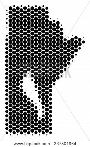 Halftone Dot Manitoba Province Map. Vector Geographical Map On A White Background. Vector Mosaic Of