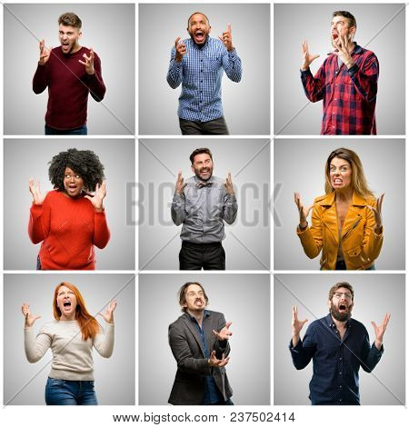 Group of mixed people, women and men terrified and nervous expressing anxiety and panic gesture, overwhelmed