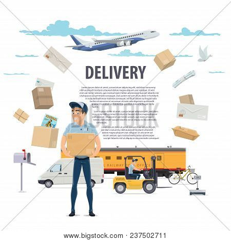 Post Mail Delivery And Postage Service Poster Of Post Shipping Icons. Vector Postman Or Mailman Deli