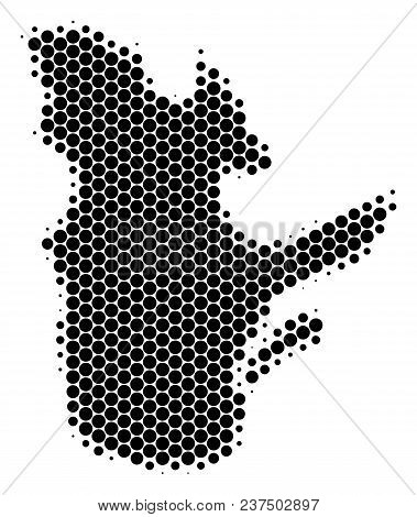 Halftone Round Spot Quebec Province Map. Vector Geographical Map On A White Background. Vector Compo