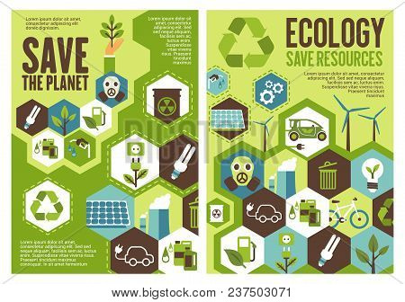 Save Planet And Eco Resources Banner Set For Ecology And Environment Protection Theme Design. Recycl