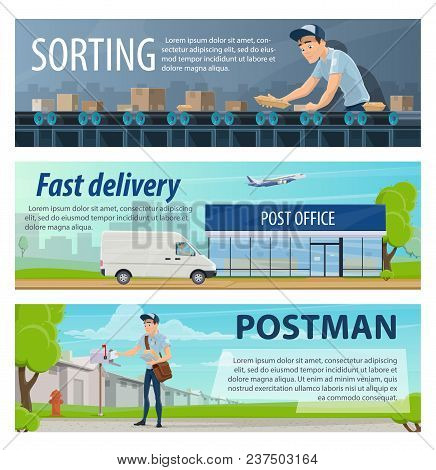 Post Mail Delivery And Postage Service Banners Of Post Shipping Transport And Postman At Sorting Cen