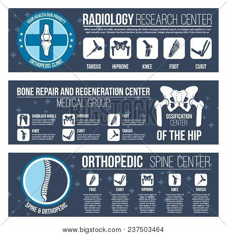 Orthopedics And Radiology Healthcare Medical And Research Center Banners Templates. Vector Flat Desi