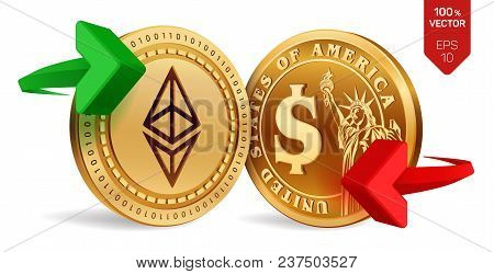 Ethereum To Dollar Currency Exchange. Ethereum. Dollar Coin. Cryptocurrency. Golden Coins With Ether