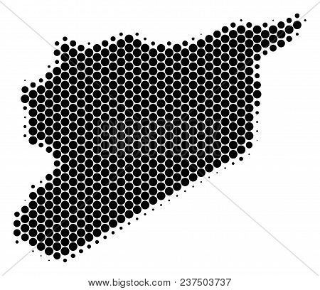 Halftone Circle Syria Map. Vector Geographic Map On A White Background. Vector Concept Of Syria Map