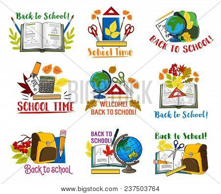 Welcome Back To School Icons Set Of School Bag And Lesson Stationery. Vector Isolated Pen, Chemistry