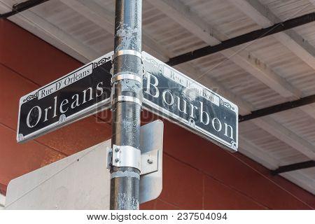 Bourbon Street Sign In New Orleans, Louisiana, Usa