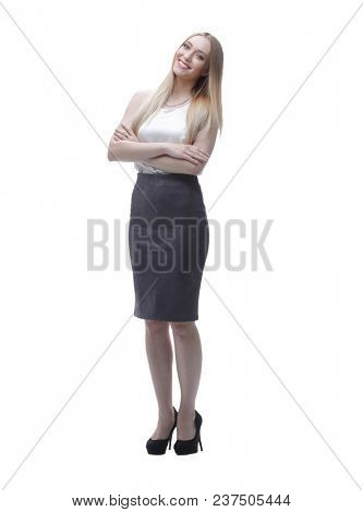 young business woman. full-length portrait.