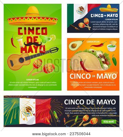 Mexican holiday vector photo free trial bigstock mexican holiday greeting card set for cinco de mayo fiesta party design festive sombrero hat m4hsunfo