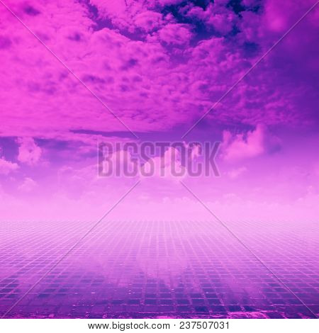 retro futuristic landscape, eighties background
