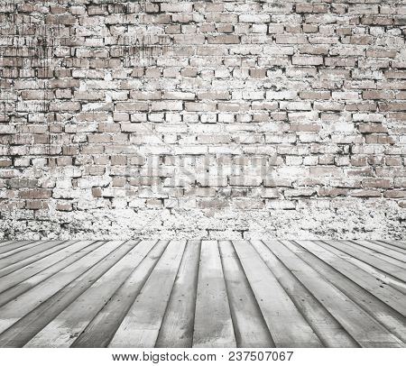 old white room with brick wall, vintage background