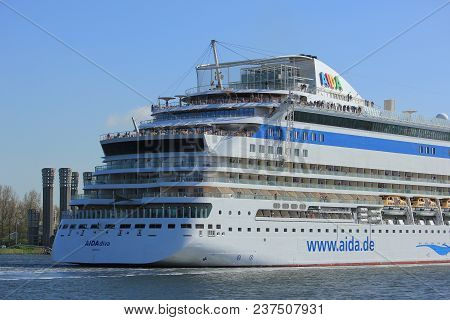 Velsen, The Netherlands -april 23rd 2018: Aida Diva On North Sea Canal, From Sea Lock To The Amsterd