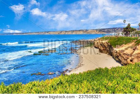 Sunny Late Afternoon Of The Popular Seaside Town Of La Jolla Cove Beach In San Diego, California.