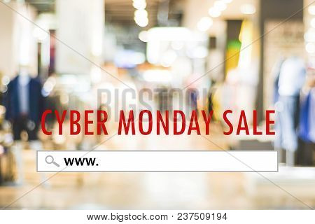 Cyber Monday Sale Banner With Www. On Search Bar Over Blur Store Background, Online Shopping, Busine
