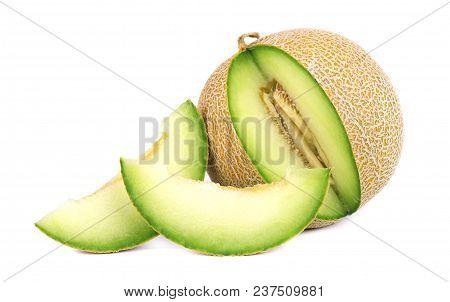 Cantaloupe Melon Isolated On White Background. Juicy And Sweet Cantaloupe Melon Isolated On White Ba