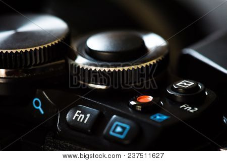 Close Up Mirrorless Micro 4/3 Digital Camera Dial And Function Button. Digital Camera Technology Con