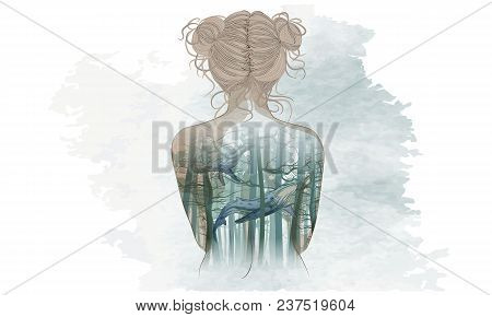 Body Art, Illustration Of Three Girl In Red Dress Under The White Background. Cartoon Realistic  Peo