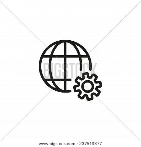 Grid Globe And Gear Line Icon. Planet, Cogwheel, Network. Internet Technology Concept. Can Be Used F
