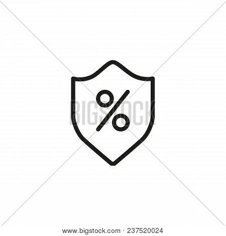 Insurance Line Icon. Shield, Percent, Safety. Loan Concept. Can Be Used For Topics Like Banking, Inv