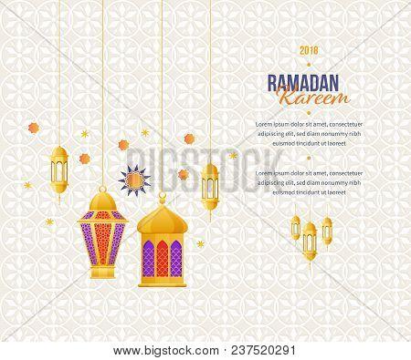 Ramadan kareem greeting card vector photo bigstock ramadan kareem greeting card with picture of colorful festive lights traditional arabic lanterns i m4hsunfo