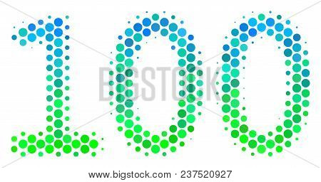 Halftone Dot 100 Text Icon. Pictogram In Green And Blue Shades On A White Background. Vector Collage
