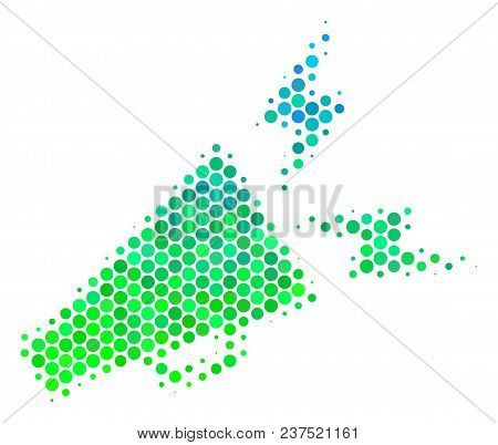 Halftone Dot Alert Megaphone Pictogram. Icon In Green And Blue Shades On A White Background. Vector