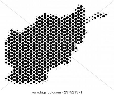 Halftone Hexagonal Afghanistan Map. Vector Geographic Map On A White Background. Vector Composition