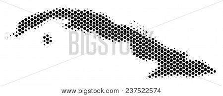 Halftone Hexagon Cuba Map. Vector Geographic Map On A White Background. Vector Mosaic Of Cuba Map Co