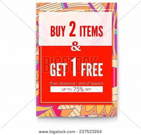 Buy Two Things, One Get For Free. Sales Poster On Tribal Pattern Backdrop. Get Up To Seventy Five Pe