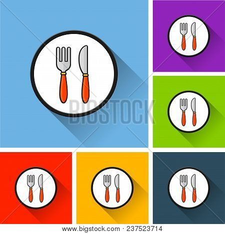 Illustration Of Restaurant Icons With Long Shadow