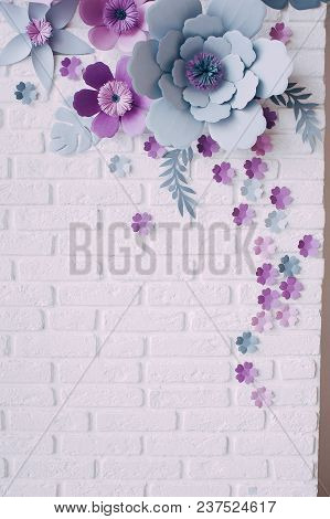 Bouquet Of Dried Wild Flowers On White Table Background With Natural Wood Vintage Planks Wooden Text