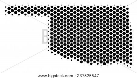 Halftone Hexagon Oklahoma State Map. Vector Geographical Map On A White Background. Vector Compositi
