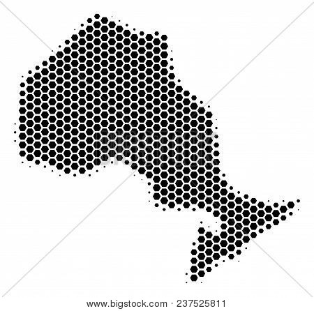 Halftone Hexagonal Ontario Province Map. Vector Geographic Map On A White Background. Vector Pattern