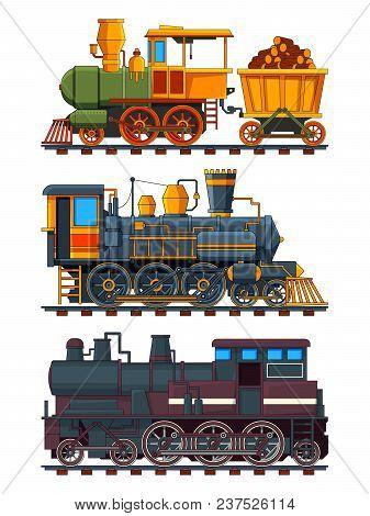 Illustrations Of Retro Trains With Wagons. Vector Train Locomotive, Wagon On Railroad