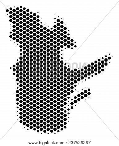 Halftone Hexagon Quebec Province Map. Vector Geographical Map On A White Background. Vector Composit
