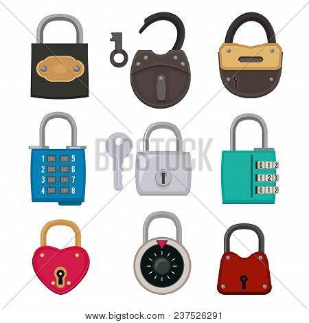Different Types Of Antique Padlocks Isolate On White. Safeguard Concept Illustrations. Vector Padloc