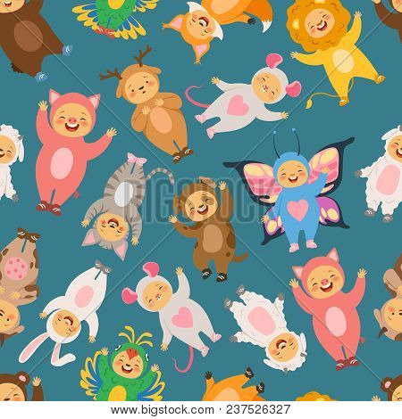 Seamless Pattern With Illustrations Of Kids In Carnival Costumes. Child In Costume Animal, Backgroun
